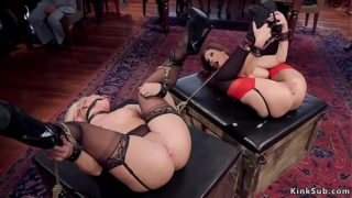 Tied Milfs anal fucked at bdsm party